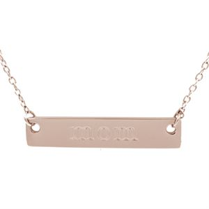 """Picture of Rose Gold 'Mom' Bar Necklace - 16"""""""